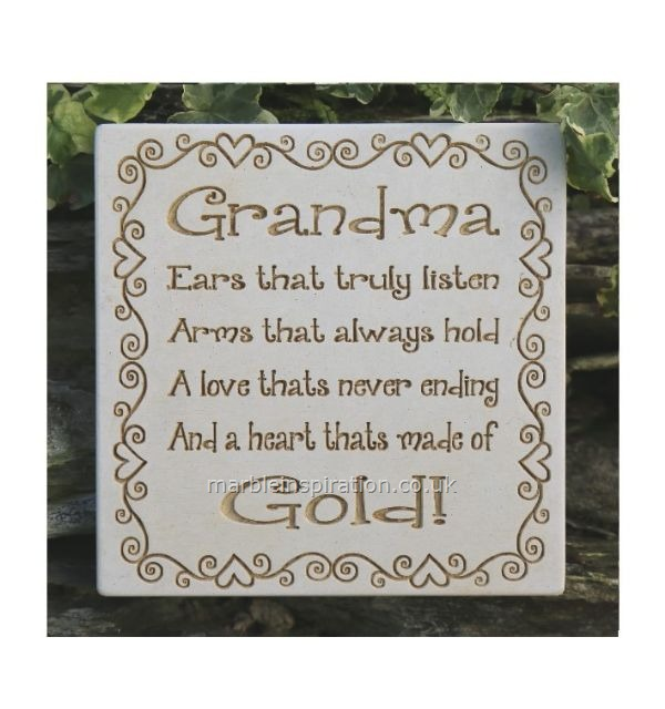 Garden Wall Plaques : Written Word Marble Plaques : Grandma Wall Sign