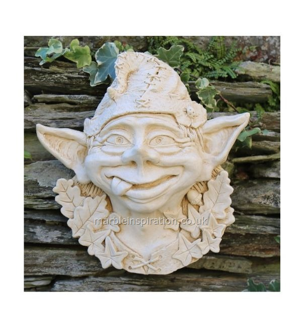 Garden Wall Plaques : Mythical Creatures & Fairy Wall Plaques : Pixie Face Marble Ornament 'Billy'