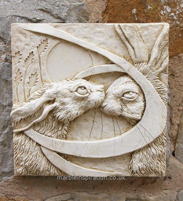 kissing hares tile - garden wall plaque