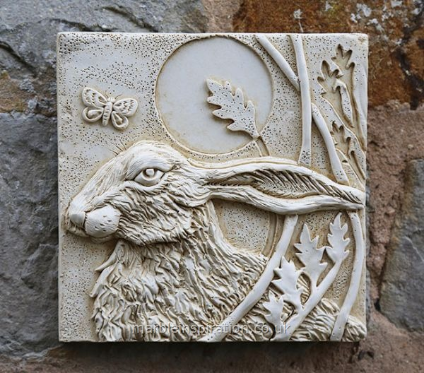 Hare Wall Tile (Left) Garden Wall Plaque
