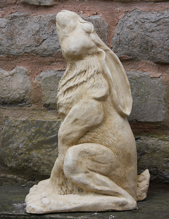 A beautiful hare statue which would look great sitting in a focal position in your garden. This hare garden ornament is made from a weather resistant bonded marble - a mix of Iberian marble and cement. It is skillfully produced to create an outstanding feature to enhance your garden or home.Height 47 cm-