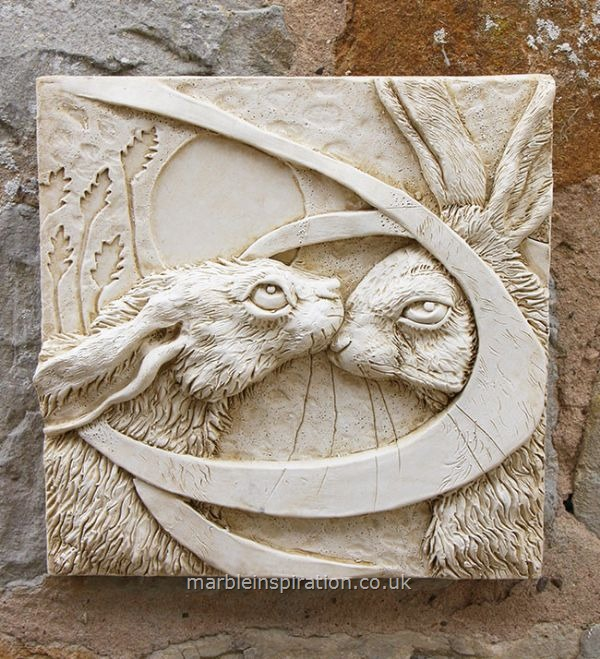 Kissing Hares Tile - Garden Wall Plaque