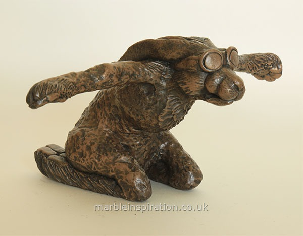 Garden Ornaments : Bronze Garden Ornaments : Bronze Ornament 'Hare Force One' for the Garden and Home