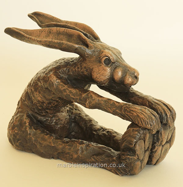 Garden Ornaments : Bronze Garden Ornaments : Bronze Ornament 'Hare Pin Bend' for the Garden and Home