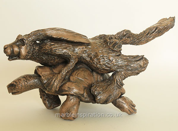 Garden Ornaments : Bronze Garden Ornaments : Bronze Ornament 'Hare & the Tortoise' for the Garden and Home