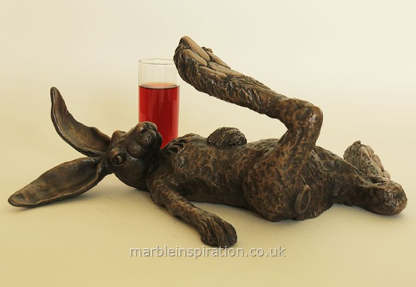 Bronze Ornament 'Hare of the Dog' for the Garden and Home