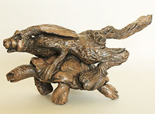 Bronze Ornament Hare & the Tortoise for the Garden and Home