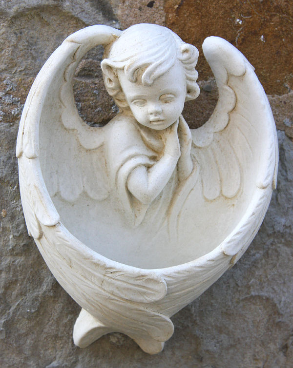 Garden Ornaments : Cherub & Angel Garden Ornaments : Angel Font Garden Ornament
