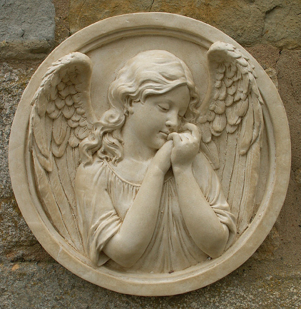 Sleeping Angel Round Wall Plaque Garden Wall Plaques