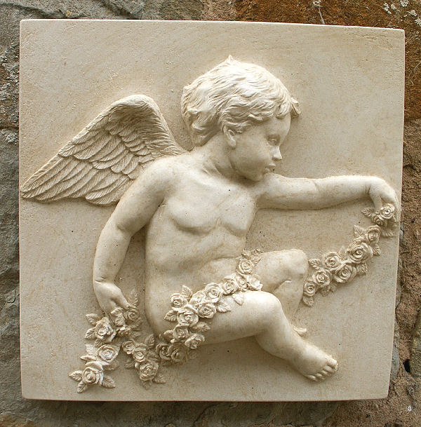 A very pretty wall tile featuring a cherub with a garland of roses. It is made from bonded marble - a mix of Iberian marble and cement. This decorative wall plaque is weather resistant and is designed for hanging outside, but is also suitable to enhance your interior decor. -Height 19 cm-Width 19 cm-