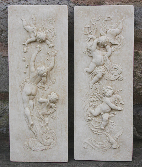 A very pretty pair of wall plaques featuring cherubs crafted in beautiful detail. They are made from bonded marble - a mix of Iberian marble and cement and are weather resistant. These wall plaques are designed for hanging outside, but would also look lovely displayed inside your home. -Height 46 cm-Width 17 cm-