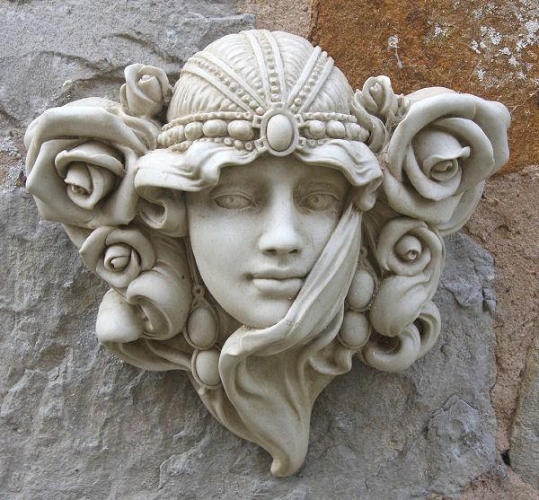 Garden Wall Plaques : Art Nouveau Wall Plaques : Art Nouveau Face Wall  Ornament