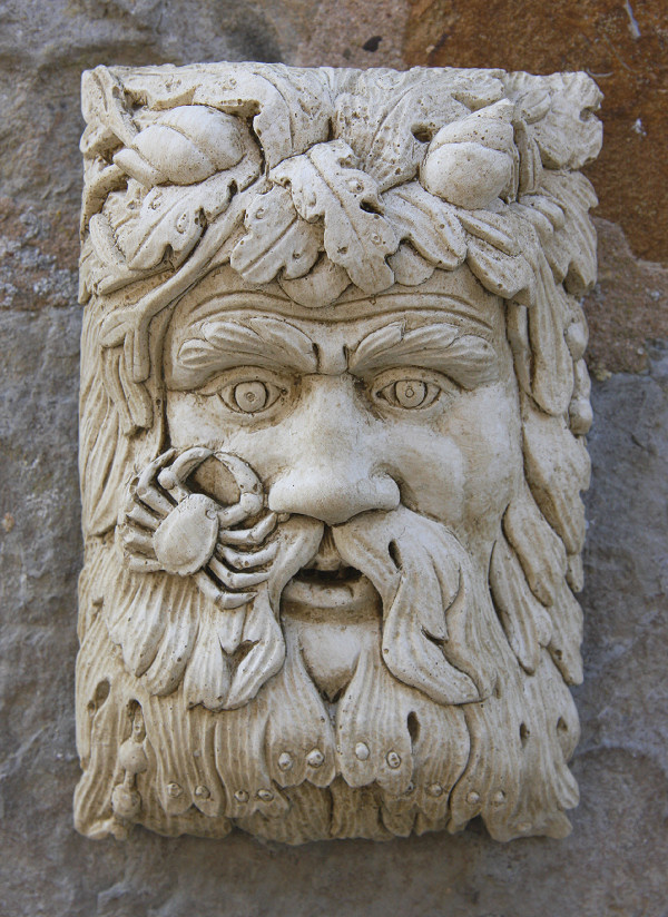 Garden Ornaments : Green Man Garden Ornaments : Stone Face Garden Wall Decoration 'Neptune'