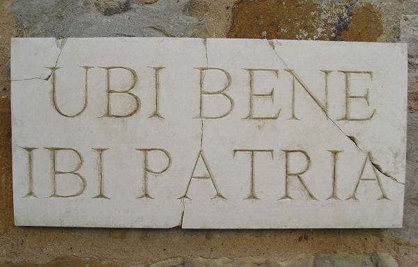 Garden Wall Plaques : Latin Wall Plaques : Latin Wall Plaque 'Ubi Bene Ibi Patria' (Where You Feel Good There Is Your Home)