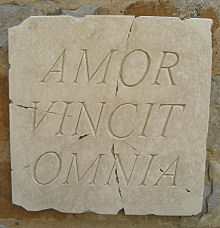 Latin Wall Plaque Amor Vincit Omnia (Love Conquers All)