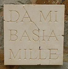 Latin Wall Plaque Da Mi Basia Mille (Give Me 1000 Kisses)