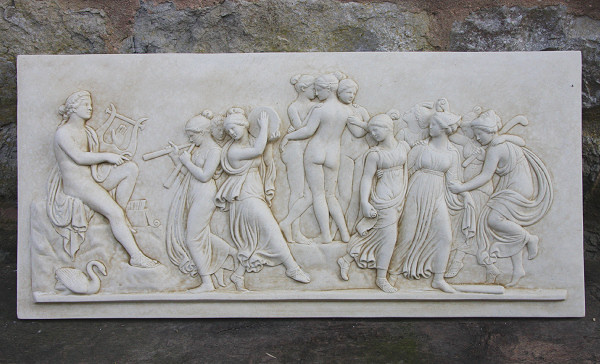 Garden Wall Plaques : Greek Wall Plaques : Greek Mythology Plaque 'Apollo and the Muses'