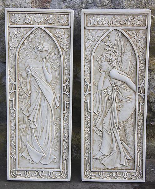 ART NOUVEAU WALL Plaques Garden Wall Plaques Buy UK