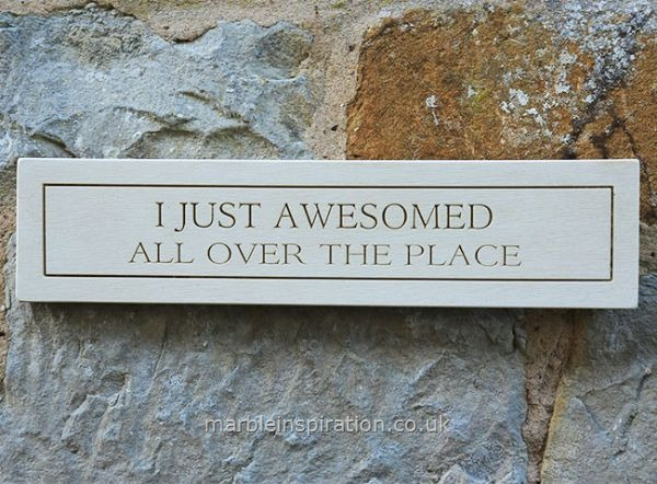 Garden Wall Plaques : Written Word Marble Plaques : Wall Plaque 'I Just Awesomed All Over The Place'