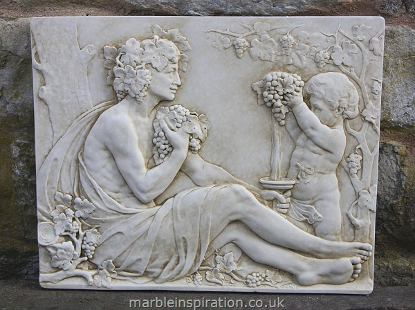 Garden Wall Plaques : Greek Wall Plaques : Mythology Wall Plaque 'Bacchus and Boy'