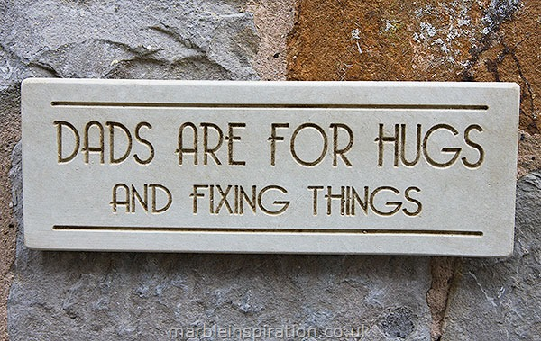 Garden Wall Plaques : Written Word Marble Plaques : Wall Plaque 'Dads Are For Hugs And Fixing Things'