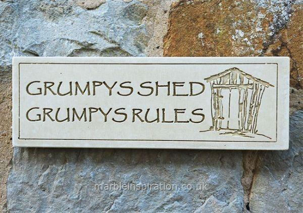 Wall plaque grumpys shed grumpys rules garden wall for Garden shed regulations