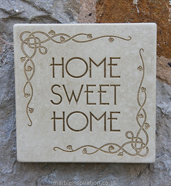 Garden Wall Plaques : Written Word Marble Plaques : Square Wall Plaque 'Home Sweet Home'