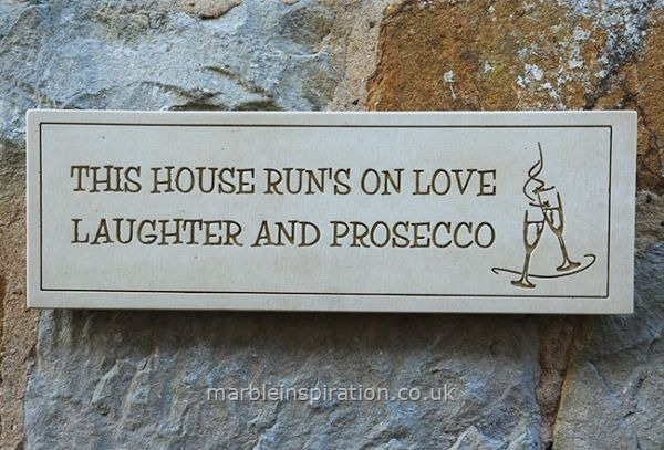 Garden Wall Plaques : Written Word Marble Plaques : Wall Sign 'This House Runs on Love...'