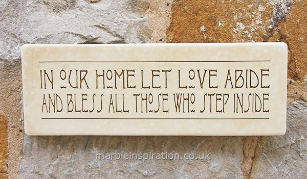 Garden Wall Plaques : Written Word Marble Plaques : Wall Sign 'In Our Home Let Love Abide...'