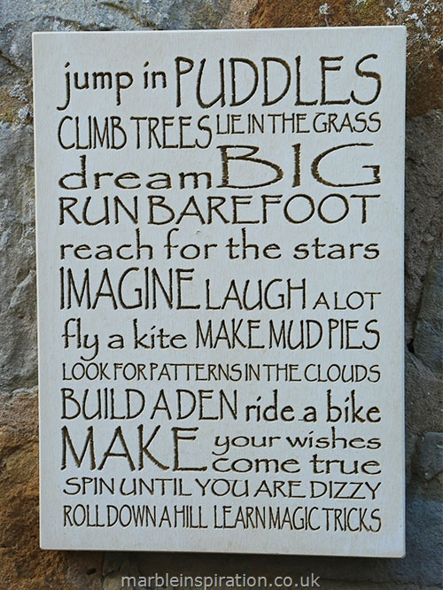 Garden Wall Plaques : Written Word Marble Plaques : Wall Sign 'Jump in Puddles...'