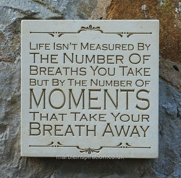Garden Wall Plaques : Written Word Marble Plaques : Wall Sign 'Life Isn't Measured...'