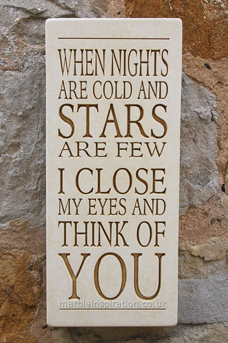 Garden Wall Plaques : Written Word Marble Plaques : Wall Sign 'When Nights Are Cold...'