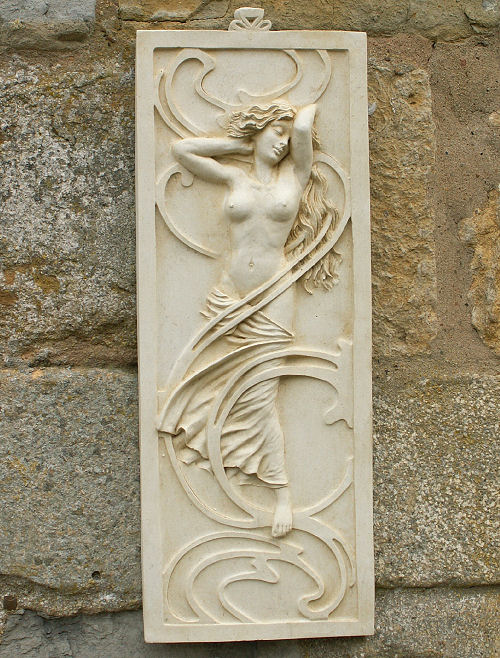 Garden Wall Plaques : Art Nouveau Wall Plaques : Stone Wall Plaque 'Lydia'