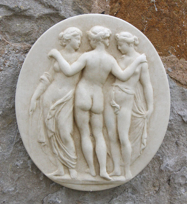 Garden Wall Plaques : Greek Wall Plaques : Oval Wall Plaque 'The Three Graces'