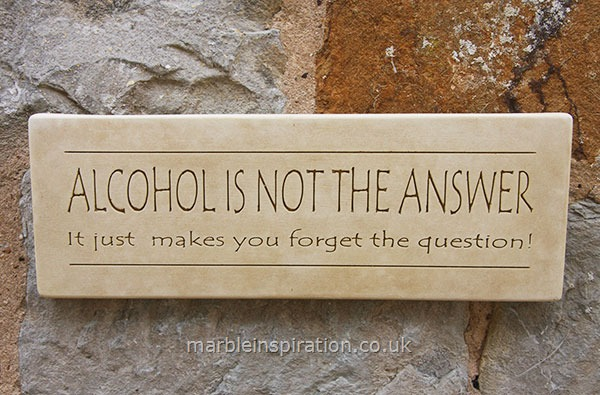 Wall Sign 'Alcohol Is Not the Answer...'