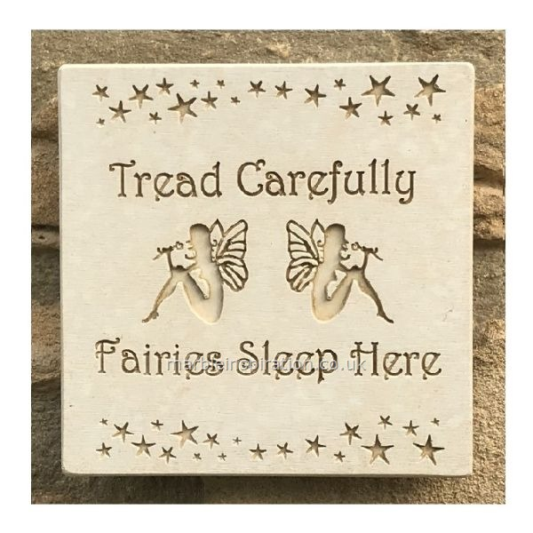 Garden Wall Plaques : Written Word Marble Plaques : Wall Sign 'Fairies Sleep Here'